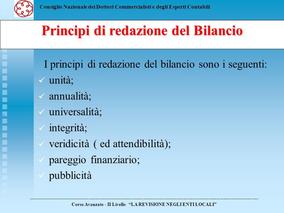 Consiglio Nazionale dei Dottori Commercialisti e degli Esperti Contabili Principi di redazione del Bilancio I principi di redazione del bilancio sono