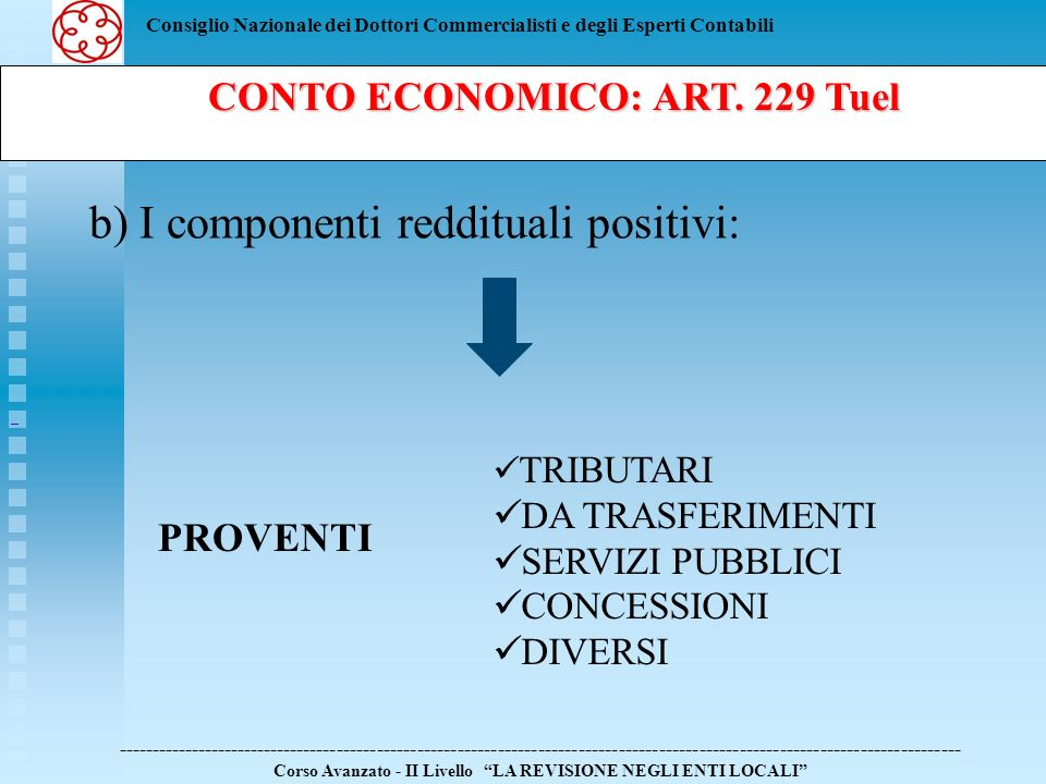 Consiglio Nazionale dei Dottori Commercialisti e degli Esperti Contabili b) I componenti reddituali positivi: ----------------------------------------