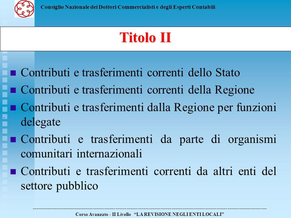 Consiglio Nazionale dei Dottori Commercialisti e degli Esperti Contabili Contributi e trasferimenti correnti dello Stato Contributi e trasferimenti co