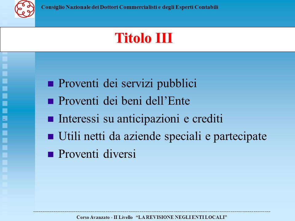 Consiglio Nazionale dei Dottori Commercialisti e degli Esperti Contabili Proventi dei servizi pubblici Proventi dei beni dellEnte Interessi su anticip
