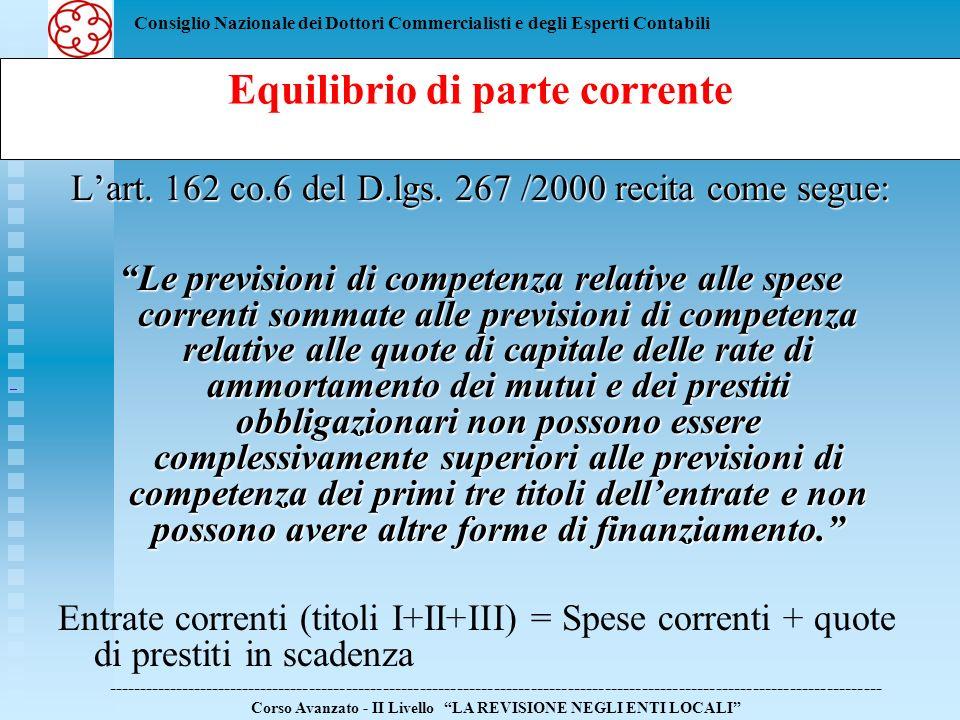 Consiglio Nazionale dei Dottori Commercialisti e degli Esperti Contabili Lart. 162 co.6 del D.lgs. 267 /2000 recita come segue: Le previsioni di compe