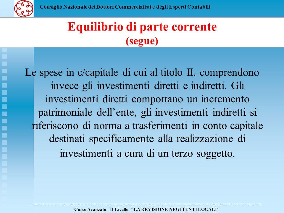 Consiglio Nazionale dei Dottori Commercialisti e degli Esperti Contabili Le spese in c/capitale di cui al titolo II, comprendono invece gli investimen