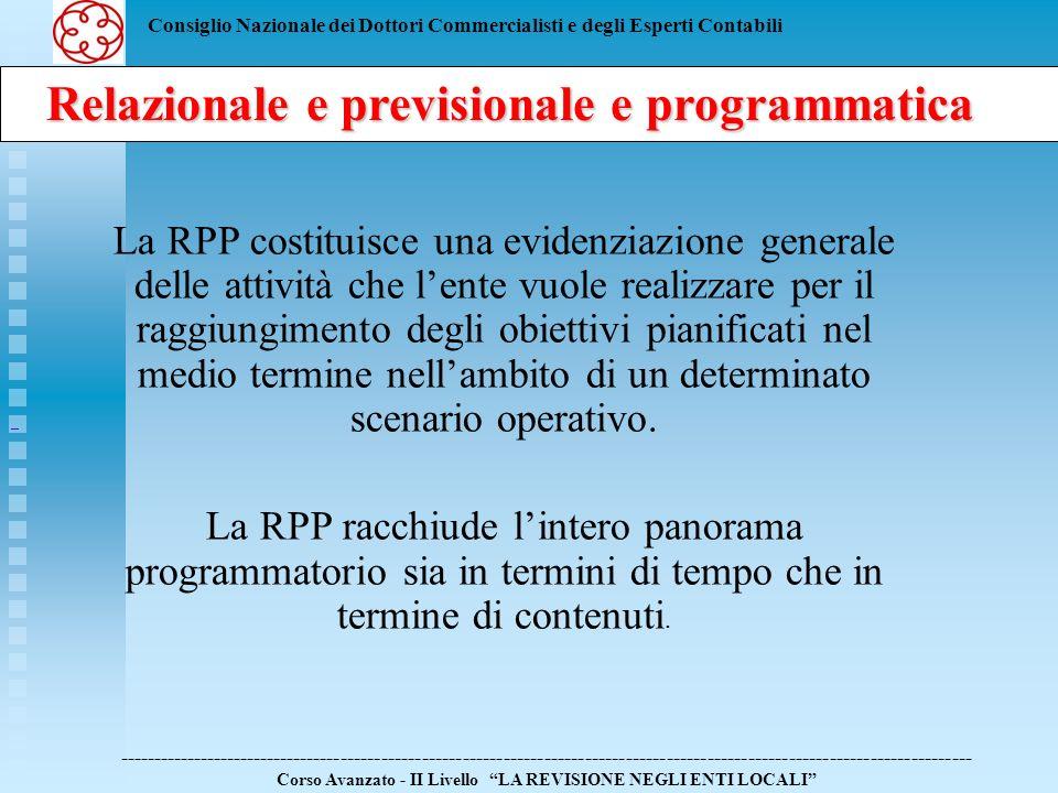 Consiglio Nazionale dei Dottori Commercialisti e degli Esperti Contabili Segue La RPP costituisce una evidenziazione generale delle attività che lente