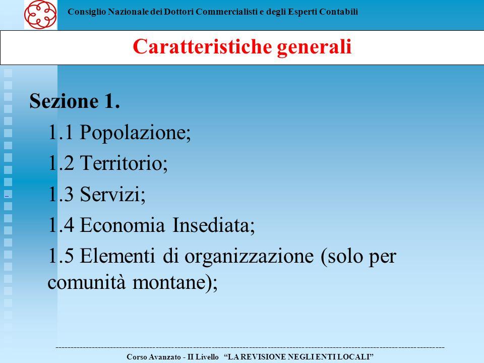 Consiglio Nazionale dei Dottori Commercialisti e degli Esperti Contabili Sezione 1. 1.1 Popolazione; 1.2 Territorio; 1.3 Servizi; 1.4 Economia Insedia