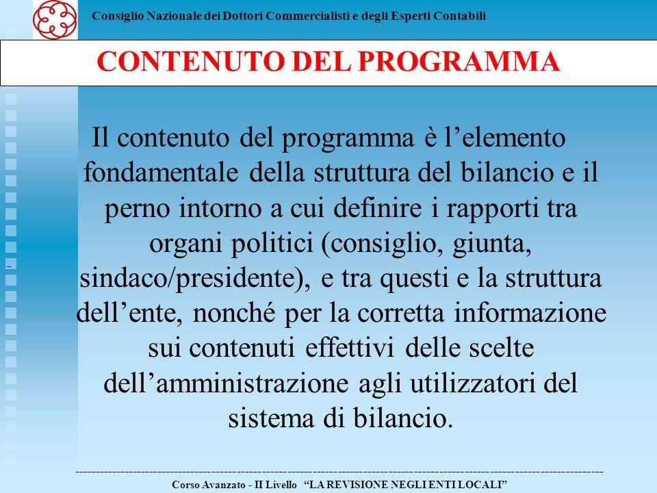 Consiglio Nazionale dei Dottori Commercialisti e degli Esperti Contabili Il contenuto del programma è lelemento fondamentale della struttura del bilan