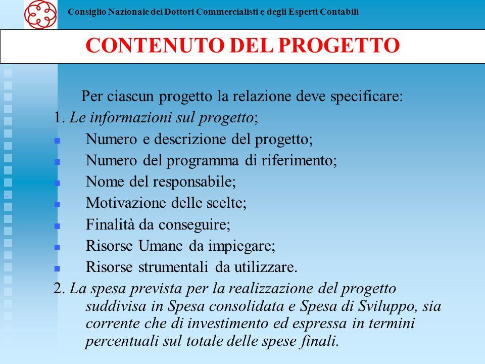 Consiglio Nazionale dei Dottori Commercialisti e degli Esperti Contabili Per ciascun progetto la relazione deve specificare: 1. Le informazioni sul pr