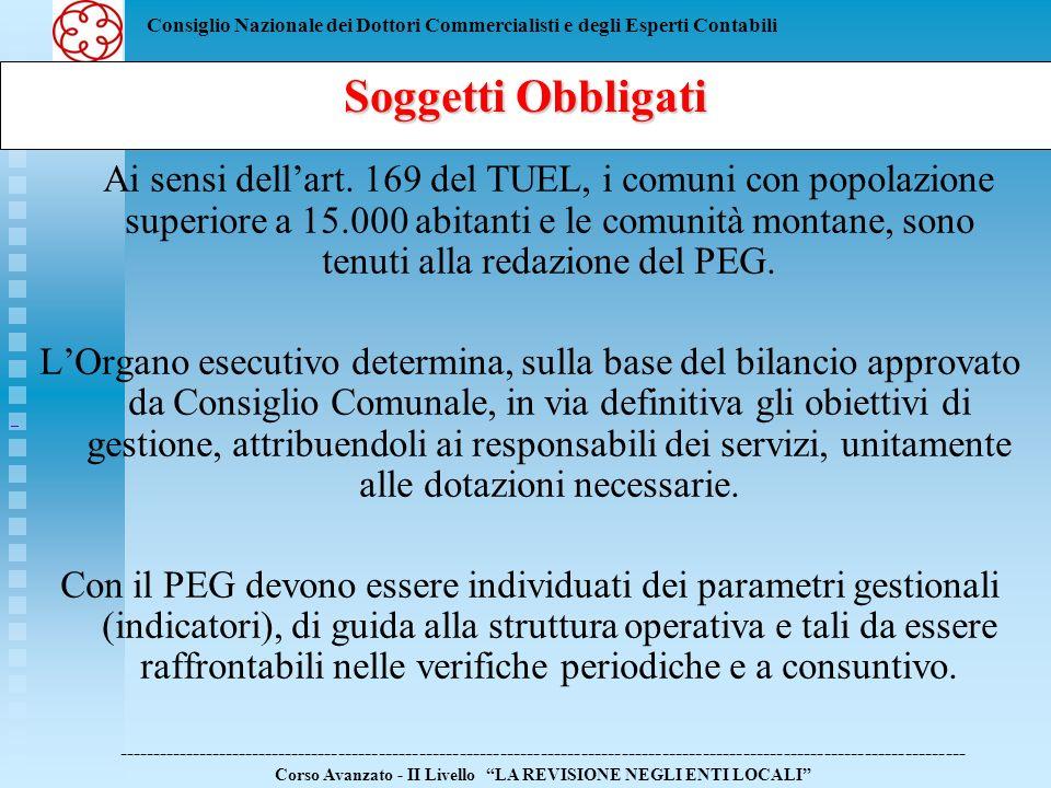 Consiglio Nazionale dei Dottori Commercialisti e degli Esperti Contabili Ai sensi dellart. 169 del TUEL, i comuni con popolazione superiore a 15.000 a