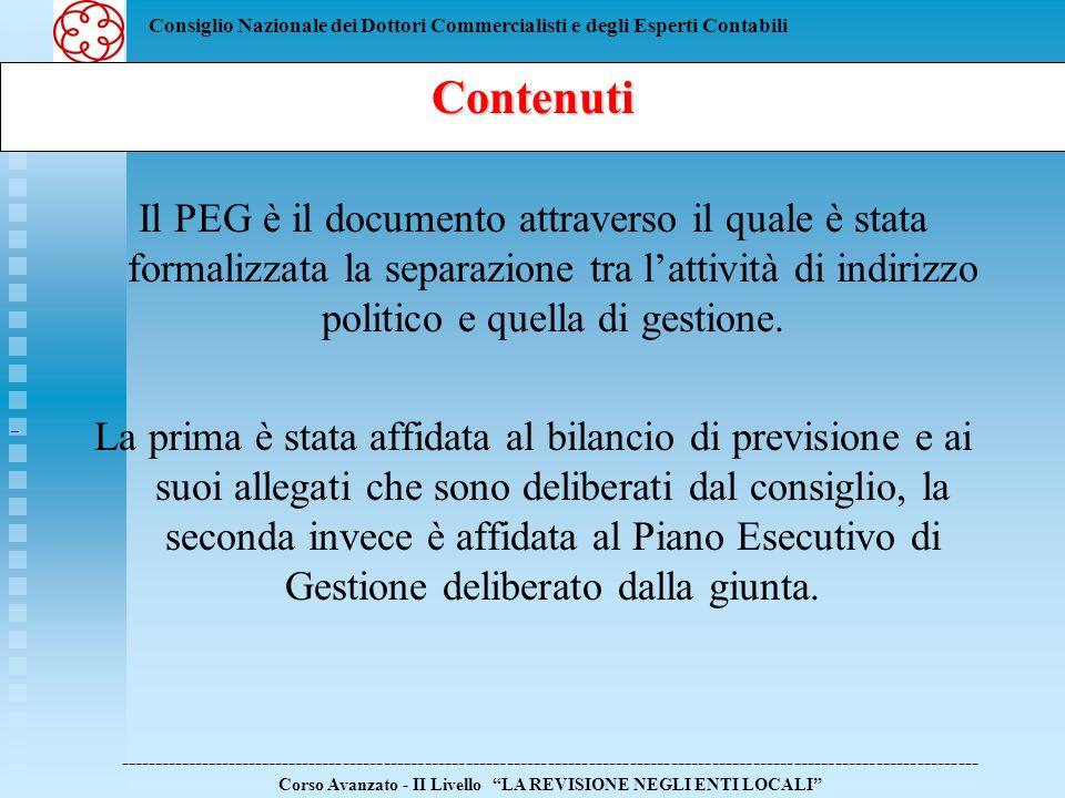 Consiglio Nazionale dei Dottori Commercialisti e degli Esperti Contabili Il PEG è il documento attraverso il quale è stata formalizzata la separazione