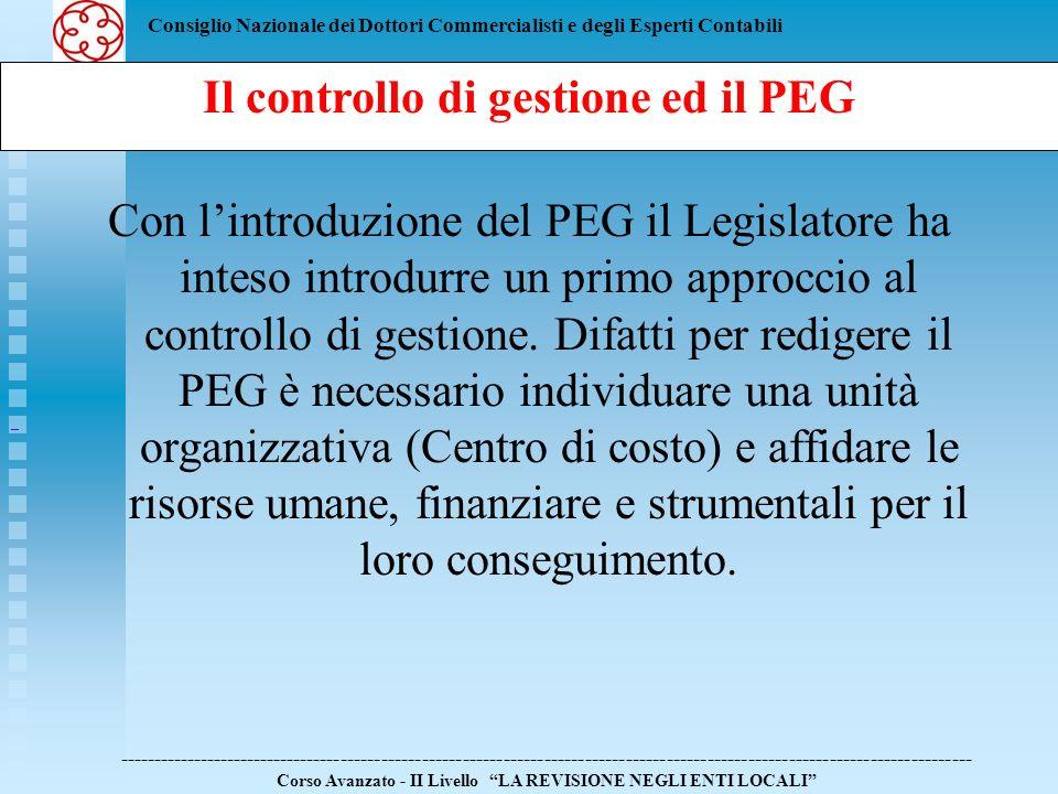Consiglio Nazionale dei Dottori Commercialisti e degli Esperti Contabili Con lintroduzione del PEG il Legislatore ha inteso introdurre un primo approc