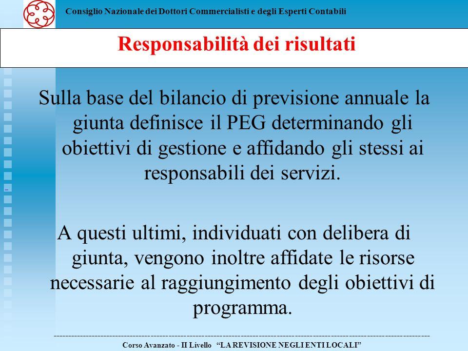 Consiglio Nazionale dei Dottori Commercialisti e degli Esperti Contabili Sulla base del bilancio di previsione annuale la giunta definisce il PEG dete