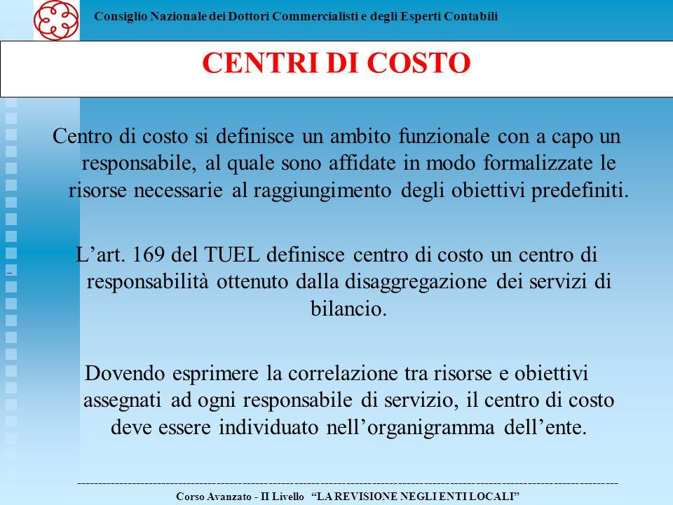 Consiglio Nazionale dei Dottori Commercialisti e degli Esperti Contabili Centro di costo si definisce un ambito funzionale con a capo un responsabile,
