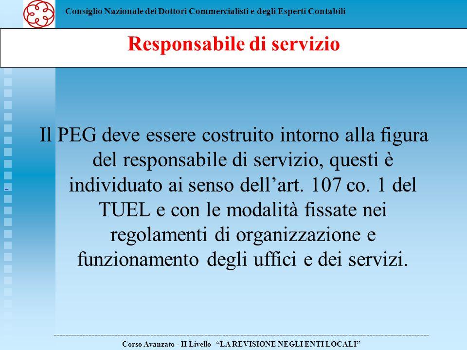 Consiglio Nazionale dei Dottori Commercialisti e degli Esperti Contabili Il PEG deve essere costruito intorno alla figura del responsabile di servizio