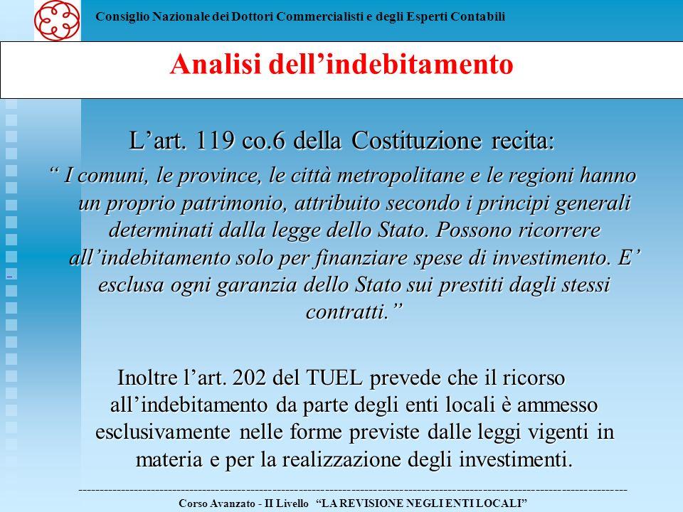Consiglio Nazionale dei Dottori Commercialisti e degli Esperti Contabili Lart. 119 co.6 della Costituzione recita: I comuni, le province, le città met