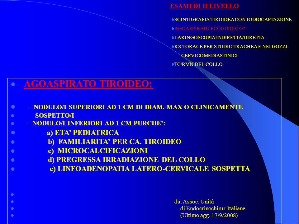 ESAMI DI II LIVELLO SCINTIGRAFIA TIROIDEA CON IODIOCAPTAZIONE AGOASPIRATO ECOGUIDATO* LARINGOSCOPIA INDIRETTA/DIRETTA RX TORACE PER STUDIO TRACHEA E N