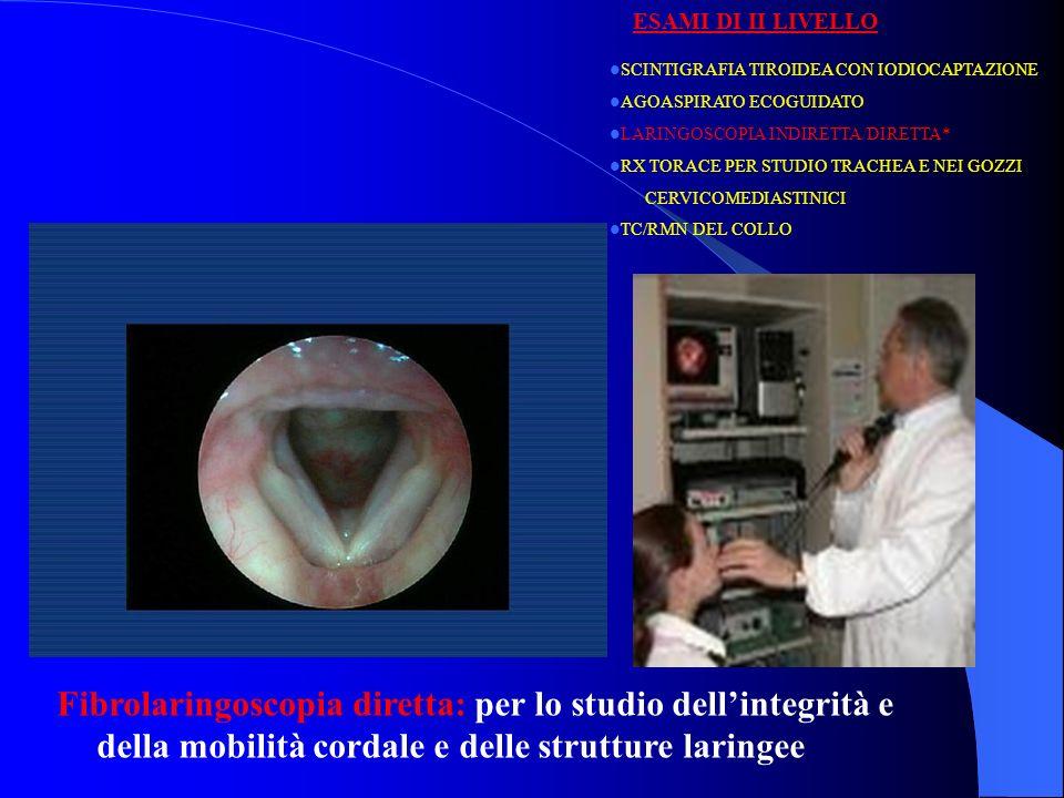 Fibrolaringoscopia diretta: per lo studio dellintegrità e della mobilità cordale e delle strutture laringee SCINTIGRAFIA TIROIDEA CON IODIOCAPTAZIONE