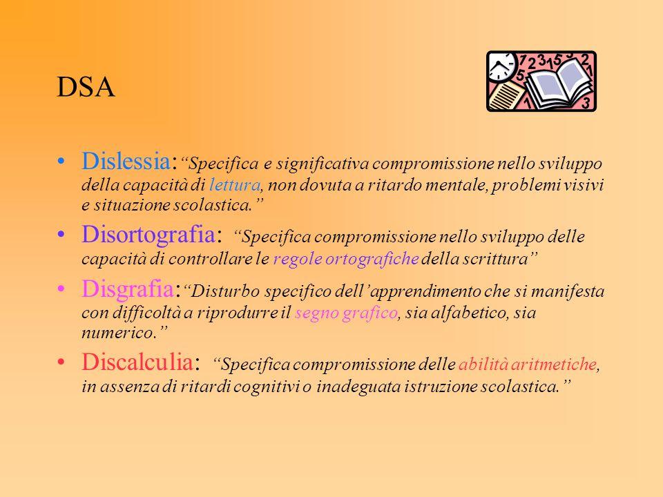 DSA Dislessia: Specifica e significativa compromissione nello sviluppo della capacità di lettura, non dovuta a ritardo mentale, problemi visivi e situ