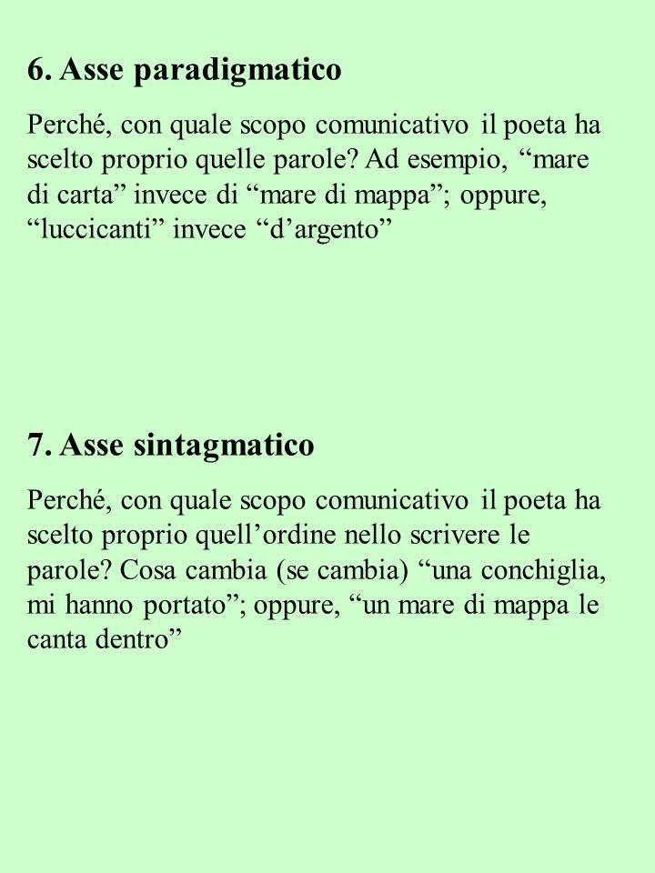 6. Asse paradigmatico Perché, con quale scopo comunicativo il poeta ha scelto proprio quelle parole? Ad esempio, mare di carta invece di mare di mappa