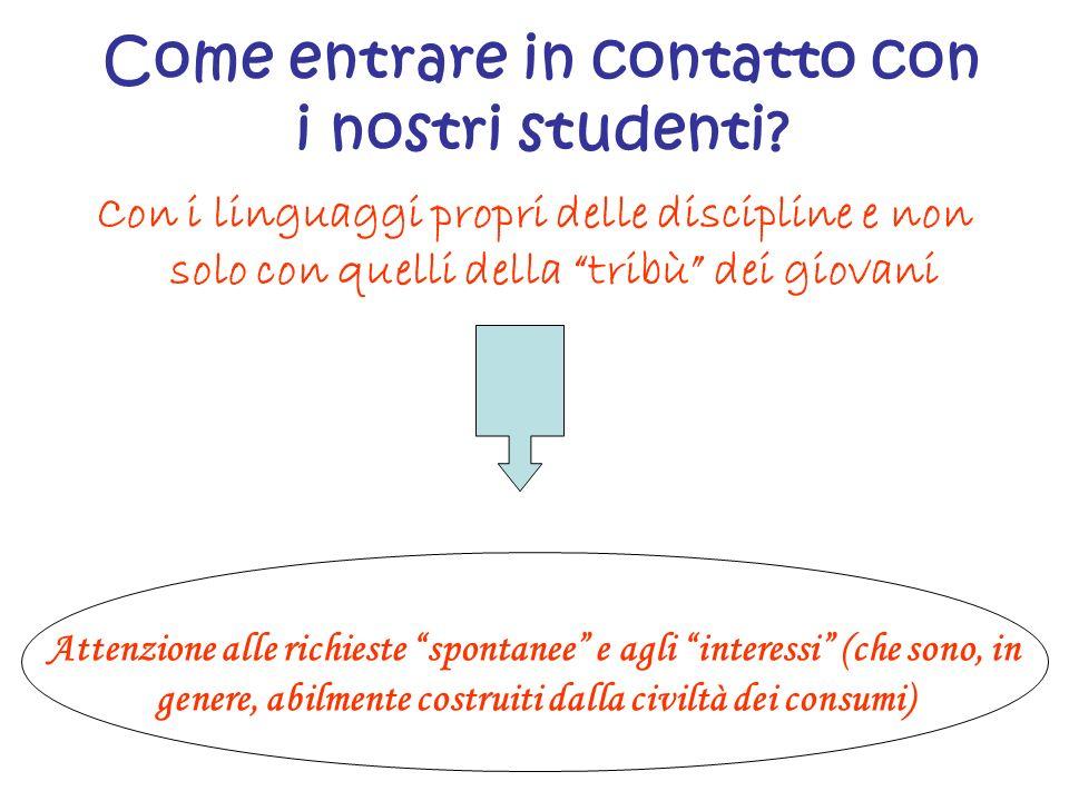 Come entrare in contatto con i nostri studenti? Con i linguaggi propri delle discipline e non solo con quelli della tribù dei giovani Attenzione alle