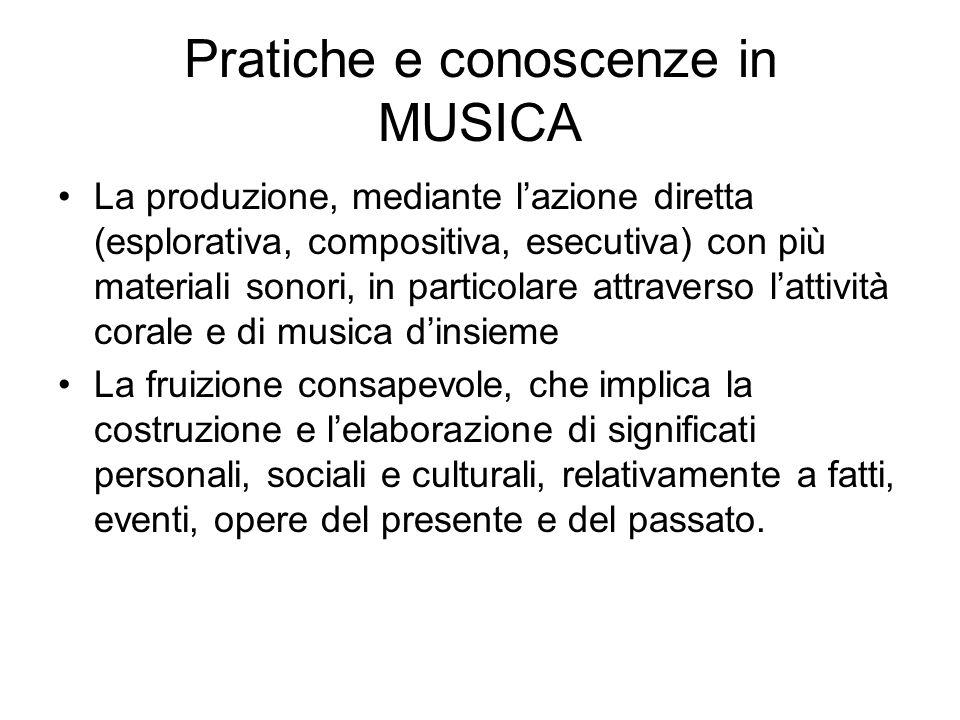 Pratiche e conoscenze in MUSICA La produzione, mediante lazione diretta (esplorativa, compositiva, esecutiva) con più materiali sonori, in particolare