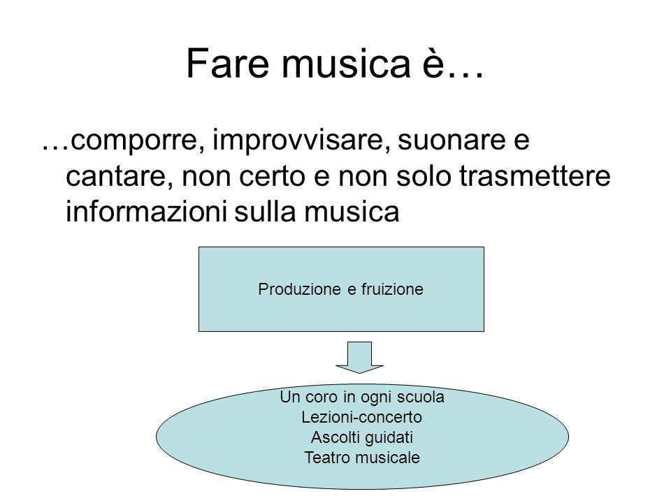 Fare musica è… …comporre, improvvisare, suonare e cantare, non certo e non solo trasmettere informazioni sulla musica Produzione e fruizione Un coro i