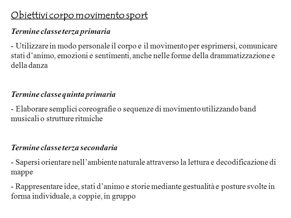 Obiettivi corpo movimento sport Termine classe terza primaria - Utilizzare in modo personale il corpo e il movimento per esprimersi, comunicare stati