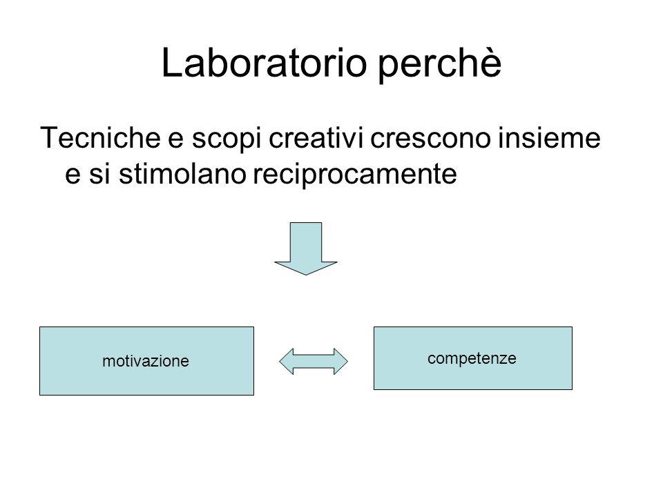 Laboratorio perchè Tecniche e scopi creativi crescono insieme e si stimolano reciprocamente motivazione competenze