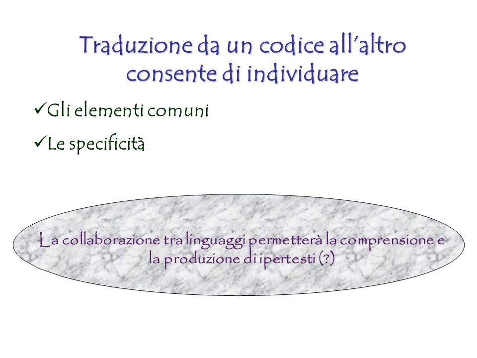 Traduzione da un codice allaltro consente di individuare Gli elementi comuni Le specificità La collaborazione tra linguaggi permetterà la comprensione