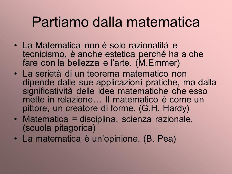 Partiamo dalla matematica La Matematica non è solo razionalità e tecnicismo, è anche estetica perché ha a che fare con la bellezza e larte. (M.Emmer)