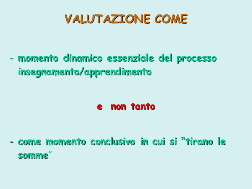 VALUTAZIONE COME - m- m- m- momento dinamico essenziale del processo insegnamento/apprendimento e non tanto - c- c- c- come momento conclusivo in cui