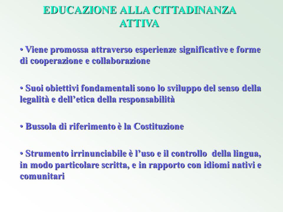 EDUCAZIONE ALLA CITTADINANZA ATTIVA Viene promossa attraverso esperienze significative e forme di cooperazione e collaborazione Viene promossa attrave