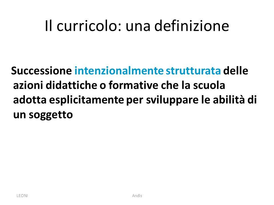 LEONIAndis Il curricolo: una definizione Successione intenzionalmente strutturata delle azioni didattiche o formative che la scuola adotta esplicitame