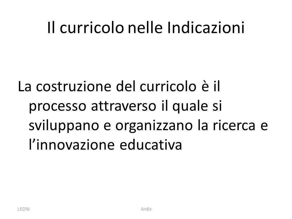 LEONIAndis Il curricolo nelle Indicazioni La costruzione del curricolo è il processo attraverso il quale si sviluppano e organizzano la ricerca e linn