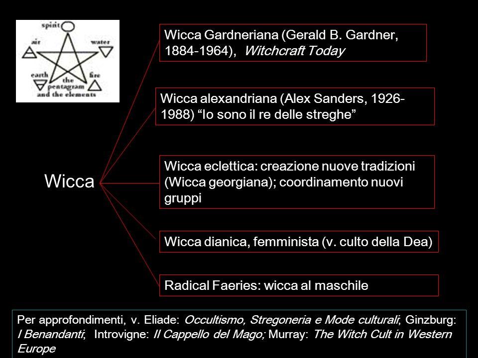 Wicca Wicca Gardneriana (Gerald B. Gardner, 1884-1964), Witchcraft Today Wicca alexandriana (Alex Sanders, 1926- 1988) Io sono il re delle streghe Wic