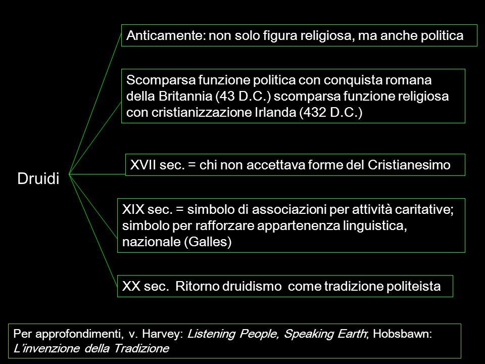 Druidi Anticamente: non solo figura religiosa, ma anche politica Scomparsa funzione politica con conquista romana della Britannia (43 D.C.) scomparsa