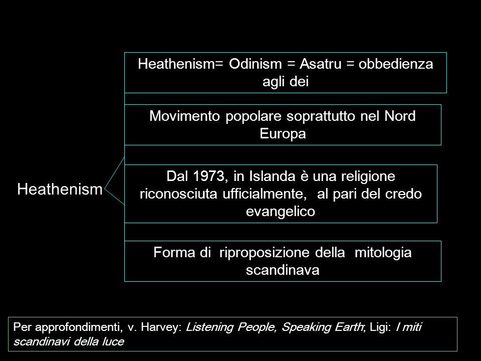 Heathenism= Odinism = Asatru = obbedienza agli dei Movimento popolare soprattutto nel Nord Europa Dal 1973, in Islanda è una religione riconosciuta uf