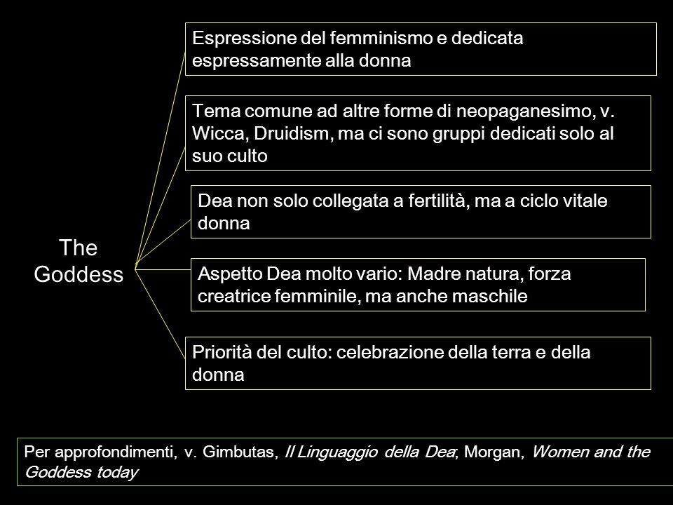 The Goddess Espressione del femminismo e dedicata espressamente alla donna Dea non solo collegata a fertilità, ma a ciclo vitale donna Tema comune ad