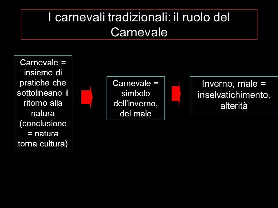 I carnevali tradizionali: il ruolo del Carnevale Carnevale = insieme di pratiche che sottolineano il ritorno alla natura (conclusione = natura torna c