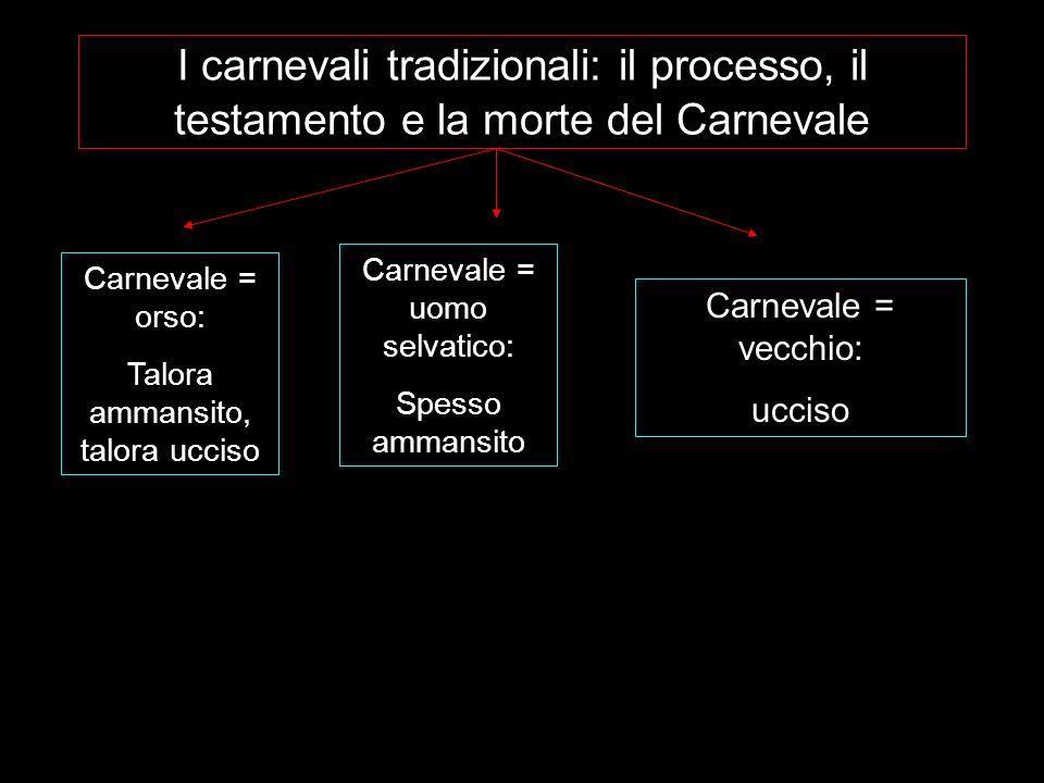 I carnevali tradizionali: il processo, il testamento e la morte del Carnevale Carnevale = orso: Talora ammansito, talora ucciso Carnevale = uomo selva