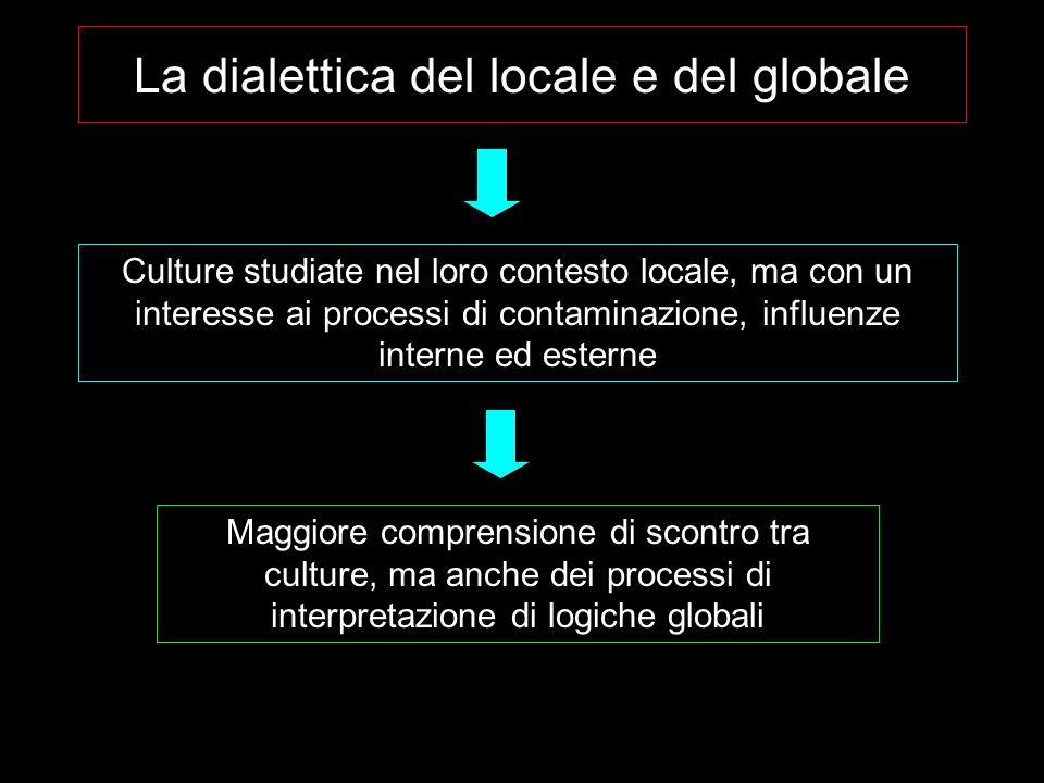 Culture studiate nel loro contesto locale, ma con un interesse ai processi di contaminazione, influenze interne ed esterne Maggiore comprensione di scontro tra culture, ma anche dei processi di interpretazione di logiche globali La dialettica del locale e del globale