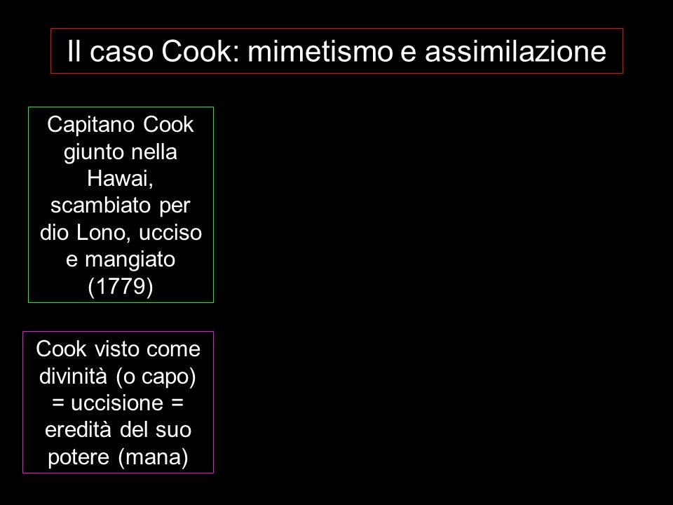 Il caso Cook: mimetismo e assimilazione Capitano Cook giunto nella Hawai, scambiato per dio Lono, ucciso e mangiato (1779) Cook visto come divinità (o capo) = uccisione = eredità del suo potere (mana)