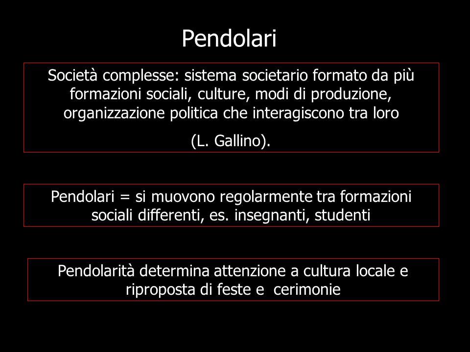 Pendolari Società complesse: sistema societario formato da più formazioni sociali, culture, modi di produzione, organizzazione politica che interagisc
