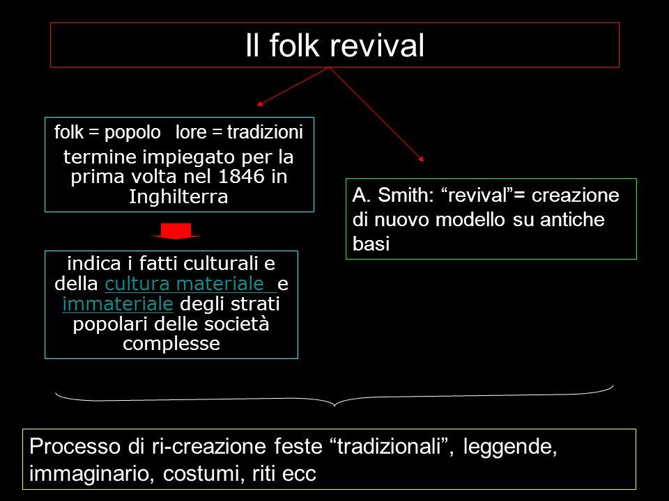 Il folk revival folk = popolo lore = tradizioni termine impiegato per la prima volta nel 1846 in Inghilterra indica i fatti culturali e della cultura