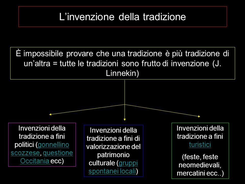 Linvenzione della tradizione È impossibile provare che una tradizione è più tradizione di unaltra = tutte le tradizioni sono frutto di invenzione (J.