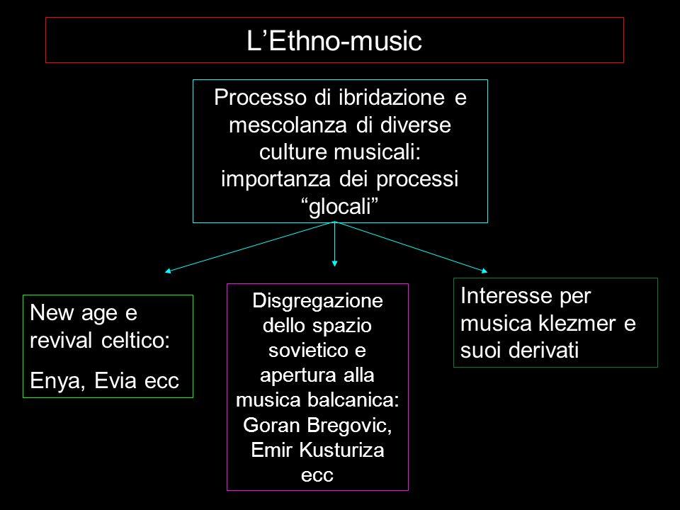 LEthno-music Processo di ibridazione e mescolanza di diverse culture musicali: importanza dei processi glocali New age e revival celtico: Enya, Evia e