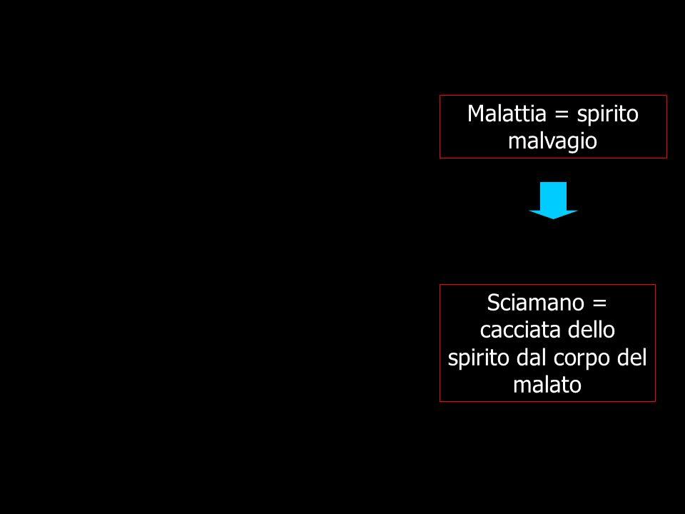 Malattia = spirito malvagio Sciamano = cacciata dello spirito dal corpo del malato