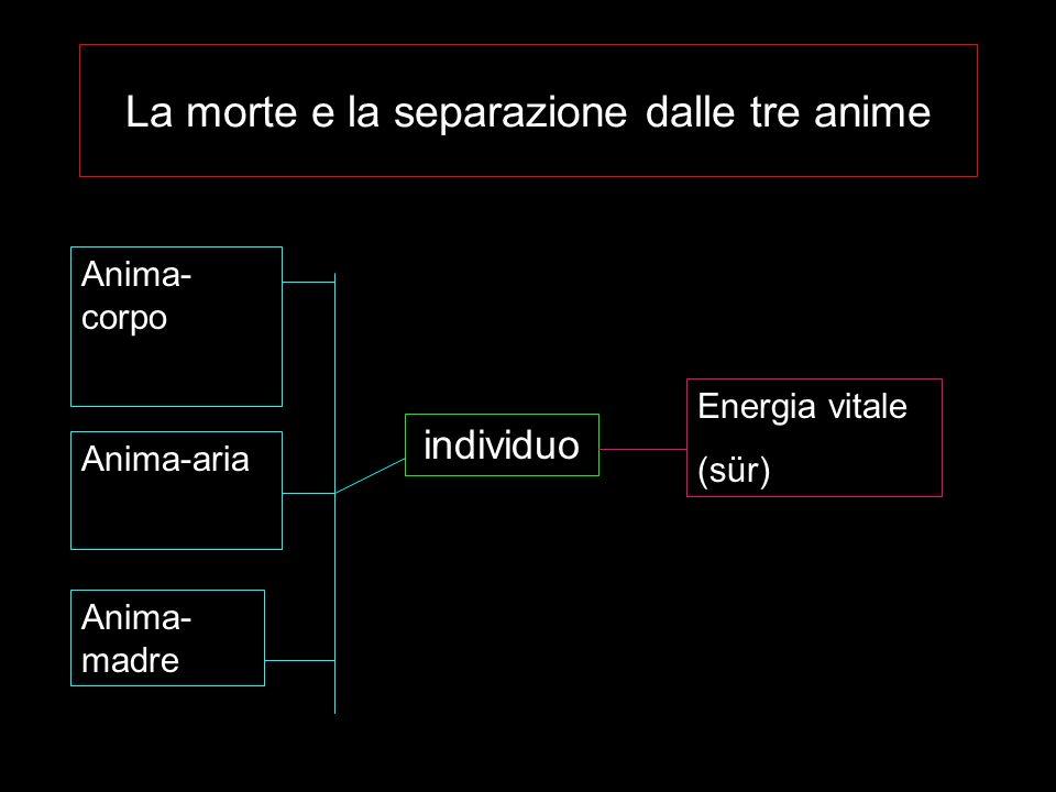 La morte e la separazione dalle tre anime individuo Anima- corpo Anima-aria Anima- madre Energia vitale (sür)