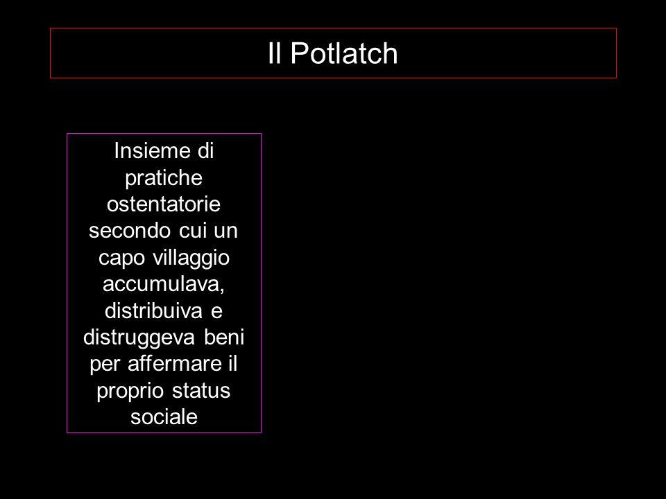 Il Potlatch Insieme di pratiche ostentatorie secondo cui un capo villaggio accumulava, distribuiva e distruggeva beni per affermare il proprio status sociale