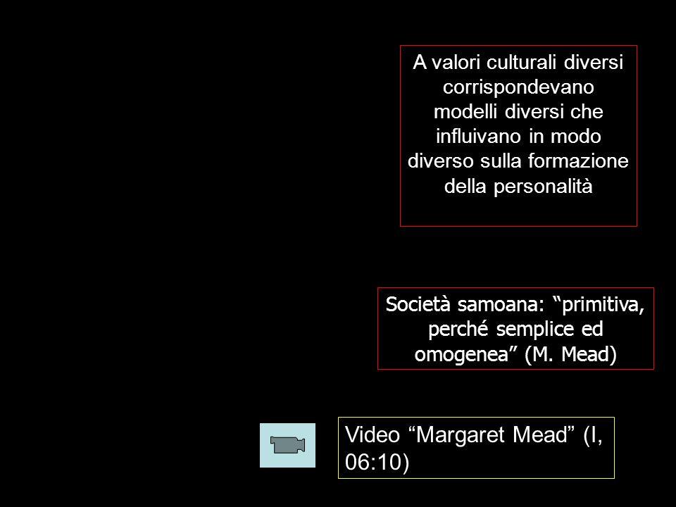 A valori culturali diversi corrispondevano modelli diversi che influivano in modo diverso sulla formazione della personalità Società samoana: primitiva, perché semplice ed omogenea (M.