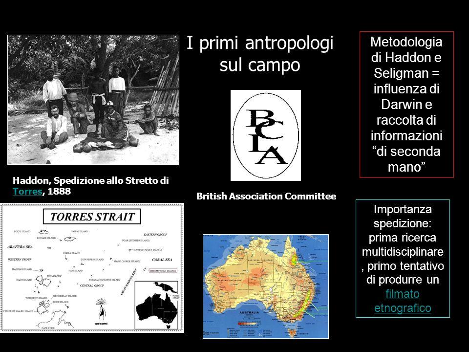 I primi antropologi sul campo Haddon, Spedizione allo Stretto di Torres, 1888 Torres British Association Committee Metodologia di Haddon e Seligman =