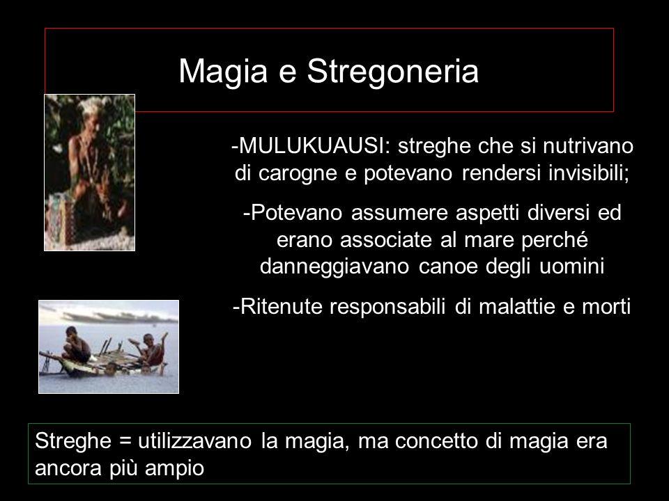 Magia e Stregoneria -MULUKUAUSI: streghe che si nutrivano di carogne e potevano rendersi invisibili; -Potevano assumere aspetti diversi ed erano assoc